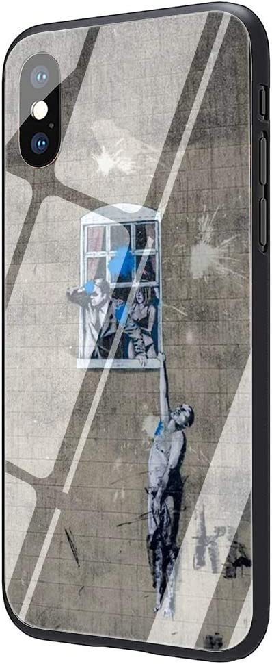 Street Art Banksy Graffiti Tempered Glass Phone Case Cover for iPhone 11 Pro Max Xs XR X 8 7 6 6S Plus (G4,for iPhone 6 6s)