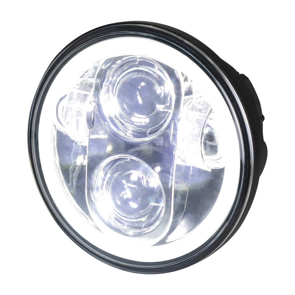 NTHREEAUTO Chrome 5-3/4 5.75 Inch Halo Ring LED Headlight Motorcycle Angel Eyes Head Lamp Headlamp Projector Daymaker with Wiring Harness Adapter Compatible with Harley Davidson Softail Dyna Iron 833