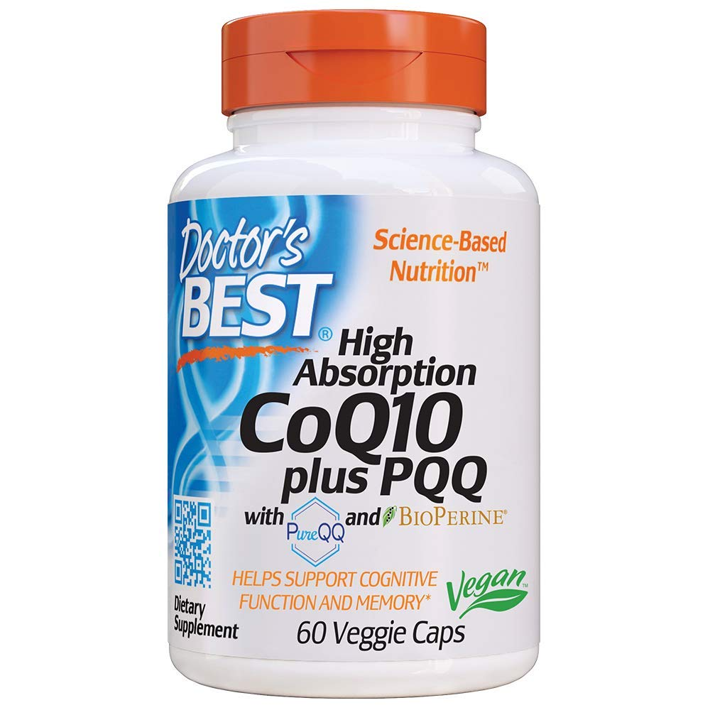 Doctor's Best High Absorption CoQ10 Plus PQQ, Gluten Free, Naturally Fermented, Vegan, Heart Health & Energy Production, 60 Veggie Caps by Doctor's Best