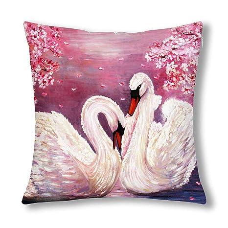 Hermosa Cisne Pareja Rosa Flores Pintura Al Óleo Cojín ...