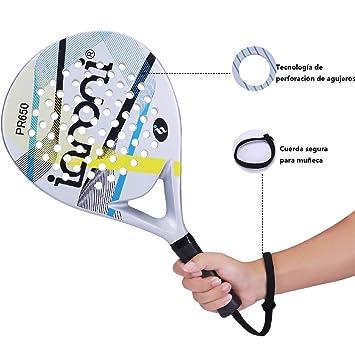 ianoni Pala de Pádel Raqueta para Pop Tenis Marco de Fibra de Carbono con Núcleo de EVA y Foam para Principiantes y Jugador de Nivel Medio (Modelo PR650): ...