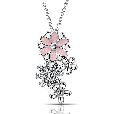 MESE London Pink Cherry Flowers Necklace 925 Sterling Silver Daisy Pink Pendant - Elegant Gift Box PeJv2x