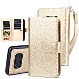 #3: TabPow Galaxy S8 Plus Case, 10 Card Slot - [ID Slot] Wallet Folio PU Leather Case Cover With Detachable Magnetic Hard Case For Samsung Galaxy S8 Plus (SM-G9550) - Glitter Gold