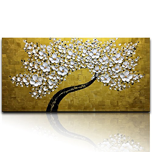 - Desihum - Elegant Golden and White Flowers Oil Painting Stretched and Framed Hand-Painted Modern Canvas Wall Art for Living Room 3D Abstract Picture for Wall(20