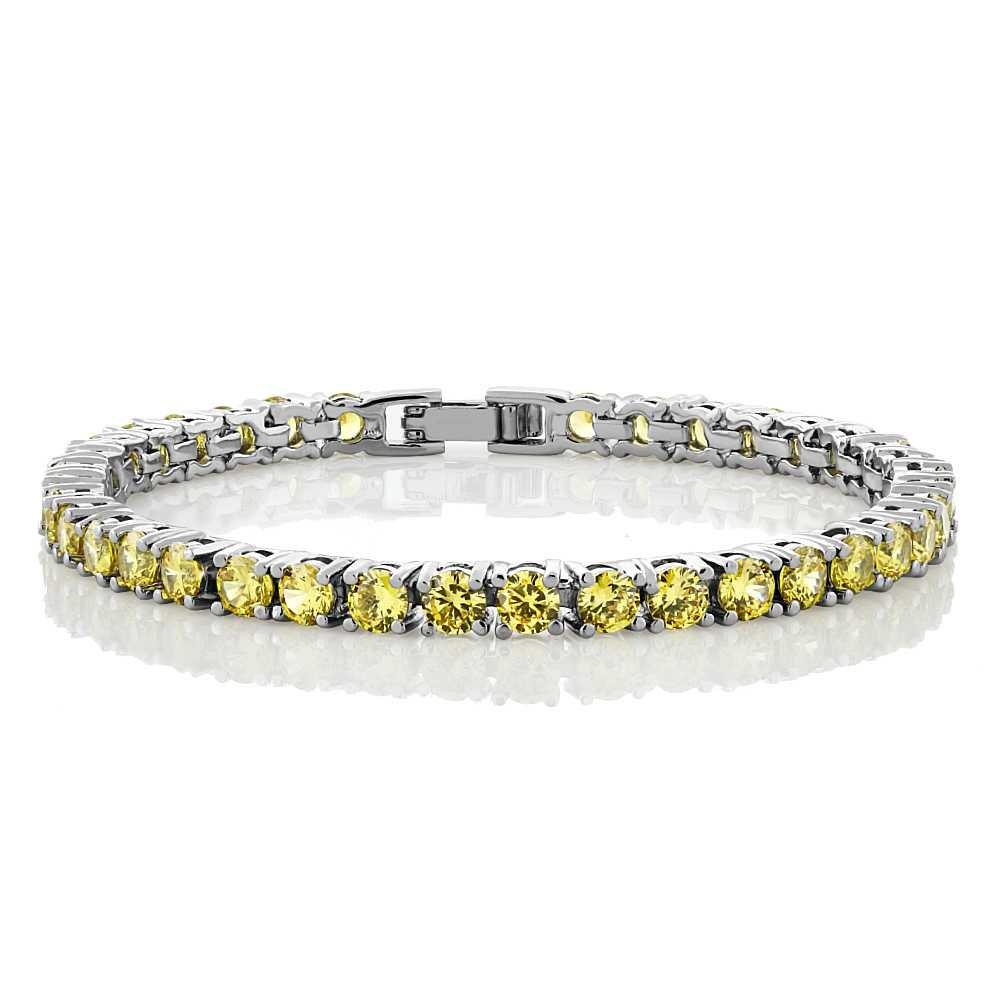 Gem Stone King 12.00 Ct Round Cut Canary Yellow Cubic Zirconias CZ 7inches Tennis Bracelet 7 Inch