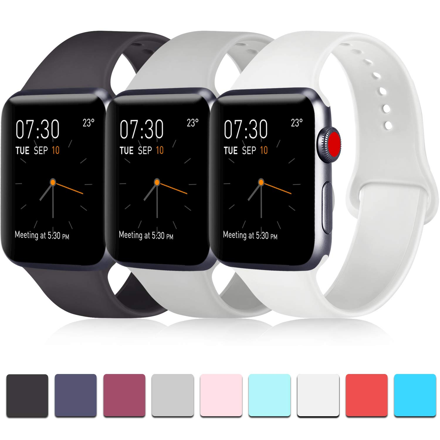 Pack 3 Compatible with Apple iWatch Bands 44mm Series 4, Soft Silicone Band Compatible iWatch Series 4, Series 3, Series 2, Series 1 (Black/Gray/White, 42mm/44mm-M/L) by ATUP