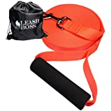 Leashboss Free Range - Long Dog Leash for Large Dogs - 1 Inch Heavy Duty Nylon Training Lead with Padded Handle - High Visibility Orange - Extra Long Dog Leash