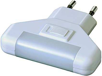 Electraline 58313 - Lámpara nocturna de presencia con sensor de movimiento con interruptor, color blanco