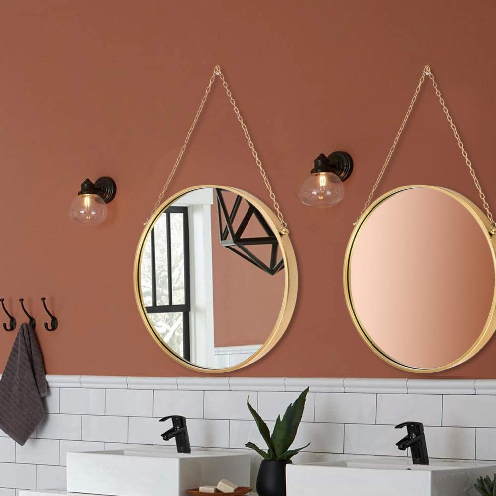Wall Hanging Mirror Dia 17.7 inch Gold Brass Round Decorative Wall-Mounted Metal Mirror with Hanging Chain for Home Bathroom Bedroom Living Room
