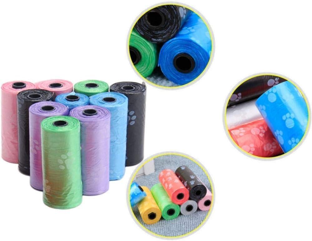 La nueva versión 10 rollos = 150 piezas de bolsa de estiércol para mascotas degradable, bolsa de caca de perro con caca impresa con patas, bolsa de recogida de mierda, limpieza portátil y ecológica