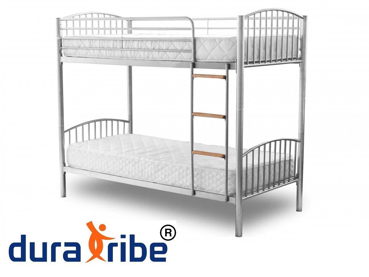 Doble DuraTribe cama litera de Metal con 2 colchones de espuma Reflex - Tamaño Individual 3 m en color plateado - divide en 2 camas individuales - EN747 ...