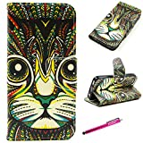 iPhone 5S Case, Firefish Premium PU Leather Wallet with Card Slots Kickstand Feature Magnetic Closure Damage Resistance Case for iPhone 5S + One Stylus Pen - Cat