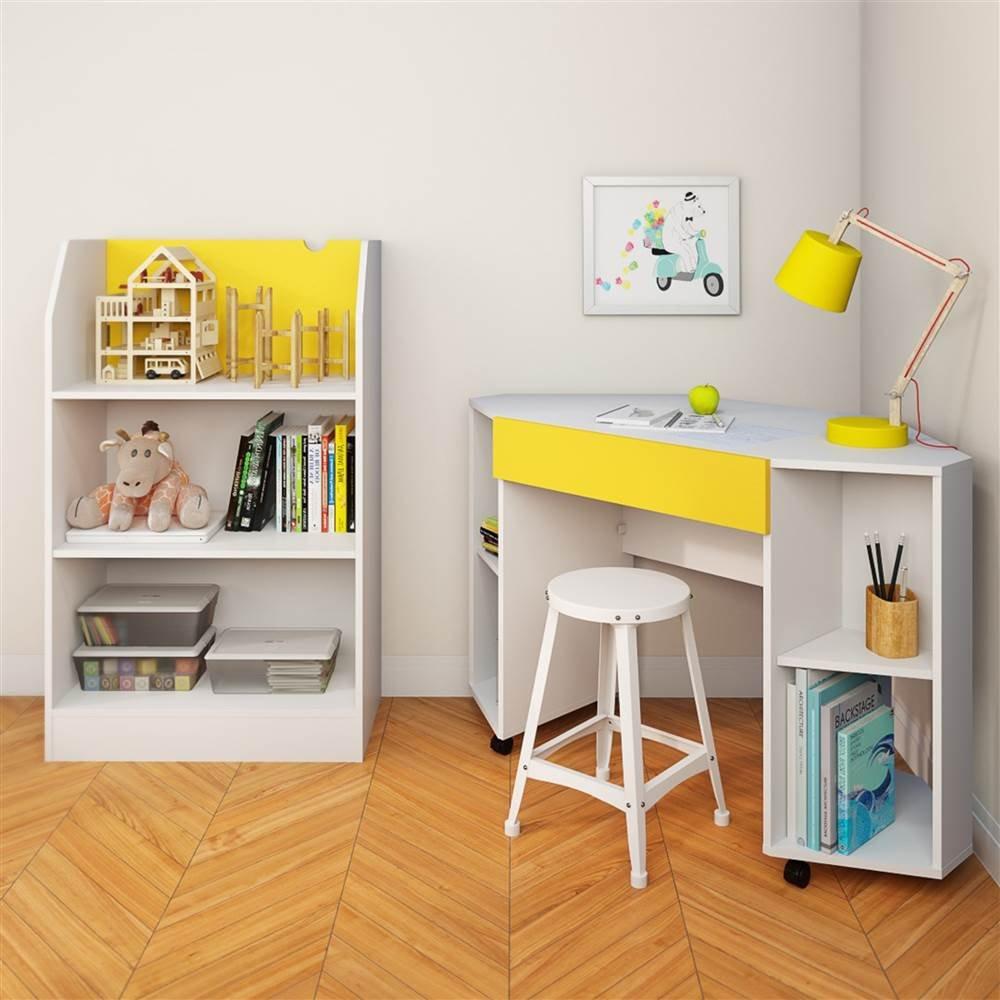Taxi 331838 Mobile Corner Desk from Nexera, White and Yellow