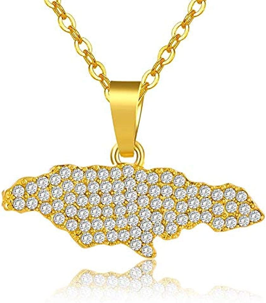 Yaoliangliang Collar con Colgante de Mapa de Jamaica de Estilo étnico para Mujeres/niñas, Regalo de joyería jamaicana de Color Dorado con Diamantes de imitación