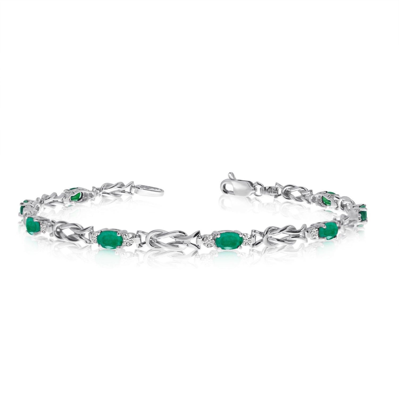 14K White Gold Oval Emerald and Diamond Bracelet