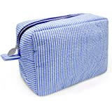 Cosmetic Bag Fashion Seersucker Makeup Pouch with Zipper Closure for Women (Seablue)