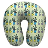 Cactus Potted Plants Travel Pillow U Shaped Pillow Memory Foam Washable Cover For Travel,Home,Neck Pain,Airplane,Car,Bus Or Camping