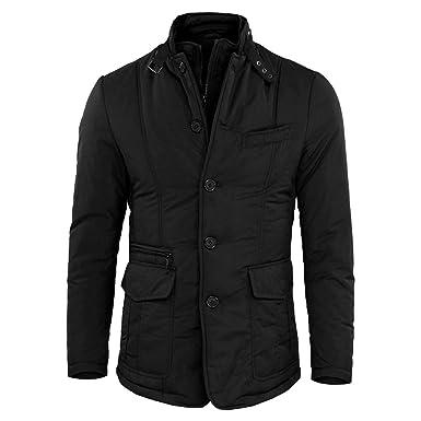 Cappotti e giacche da uomo impermeabili neri con cerniera
