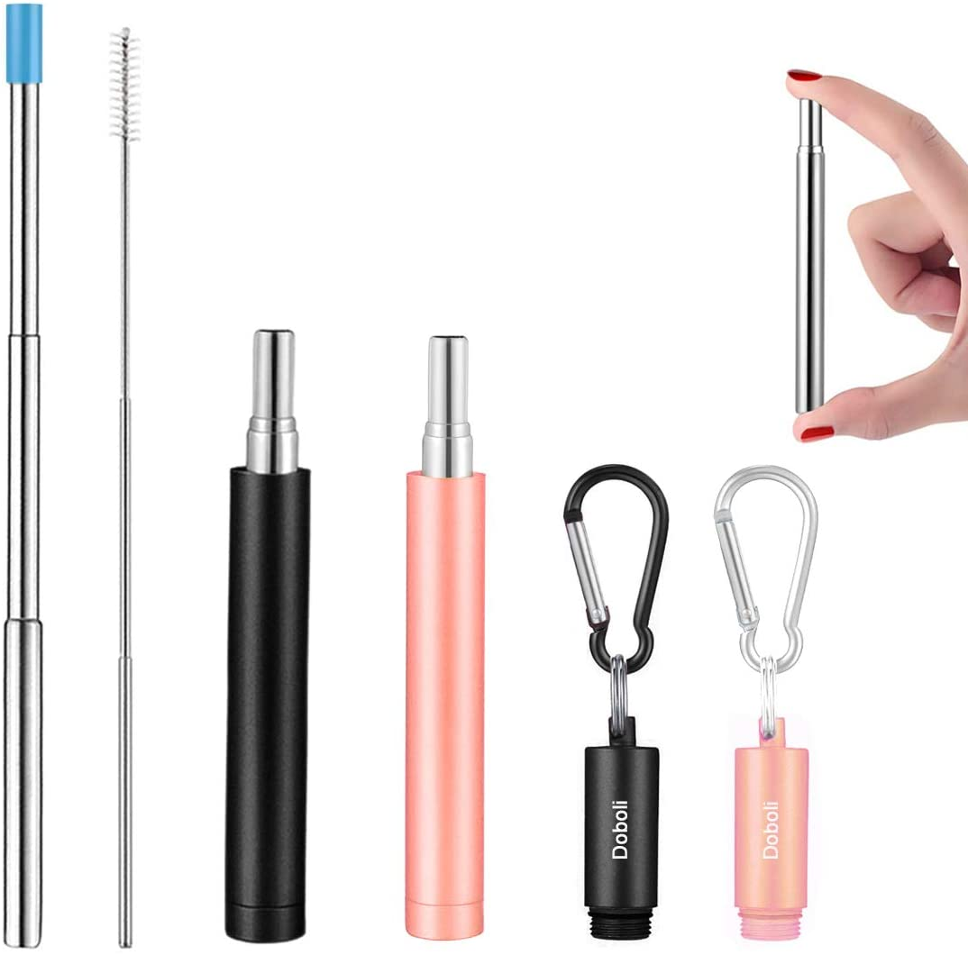 Pink/&Blue Portable Collapsible Straw with Case /& Key chain /& Cleaning Brush Reusable Straws 2 Pack Telescopic Metal Travel Straws Stainless Steel Drinking Straws