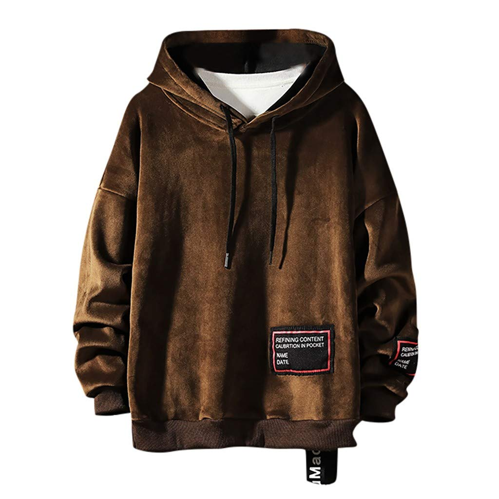 Men's Drawstring Hooded Sweatshirt, Casual Fashion Mans Pullover Long Sleeve Big and Tall Outwear Solid Color Coat (XXXX-Large, Coffee) by LANTOVI Men Sweatshirt