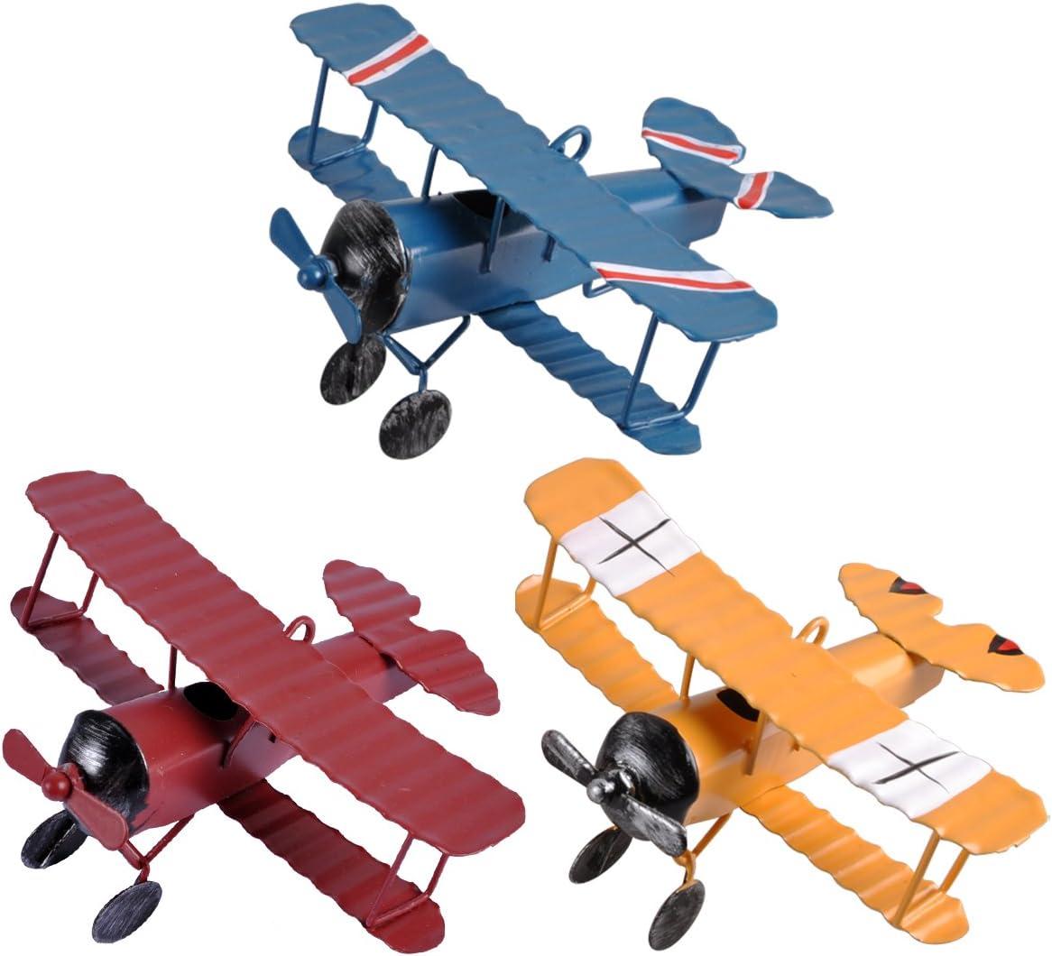 eZAKKA Avionetas de Metal modelo retro, Juguete de Aeronave decorativo para el hogar, 3unid
