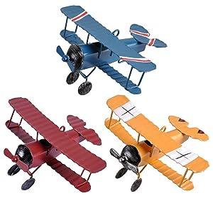 eZAKKA Airplane Decor Vintage Mini Metal Decorative Airplane Model Hanging Wrought Iron Aircraft Biplane Pendant Toys for Photo Props, Christmas Tree Ornament, Desktop Decoration, 3 Color-Pack