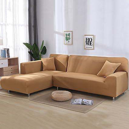 Cjc Premium Quality Sofa Covers For L Shape, 2pcs Polyester Fabric Stretch  Slipcovers + 2pcs