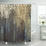 Black and Gold Shower Curtain Emvency Shower Curtain Abstract Colored Geometric Pattern Pixel Tiled in Blue Beige Black Old Gold Brown and Grey Colors Shower Curtain 72 x 78 Inches Shower Curtain with Plastic Hooks