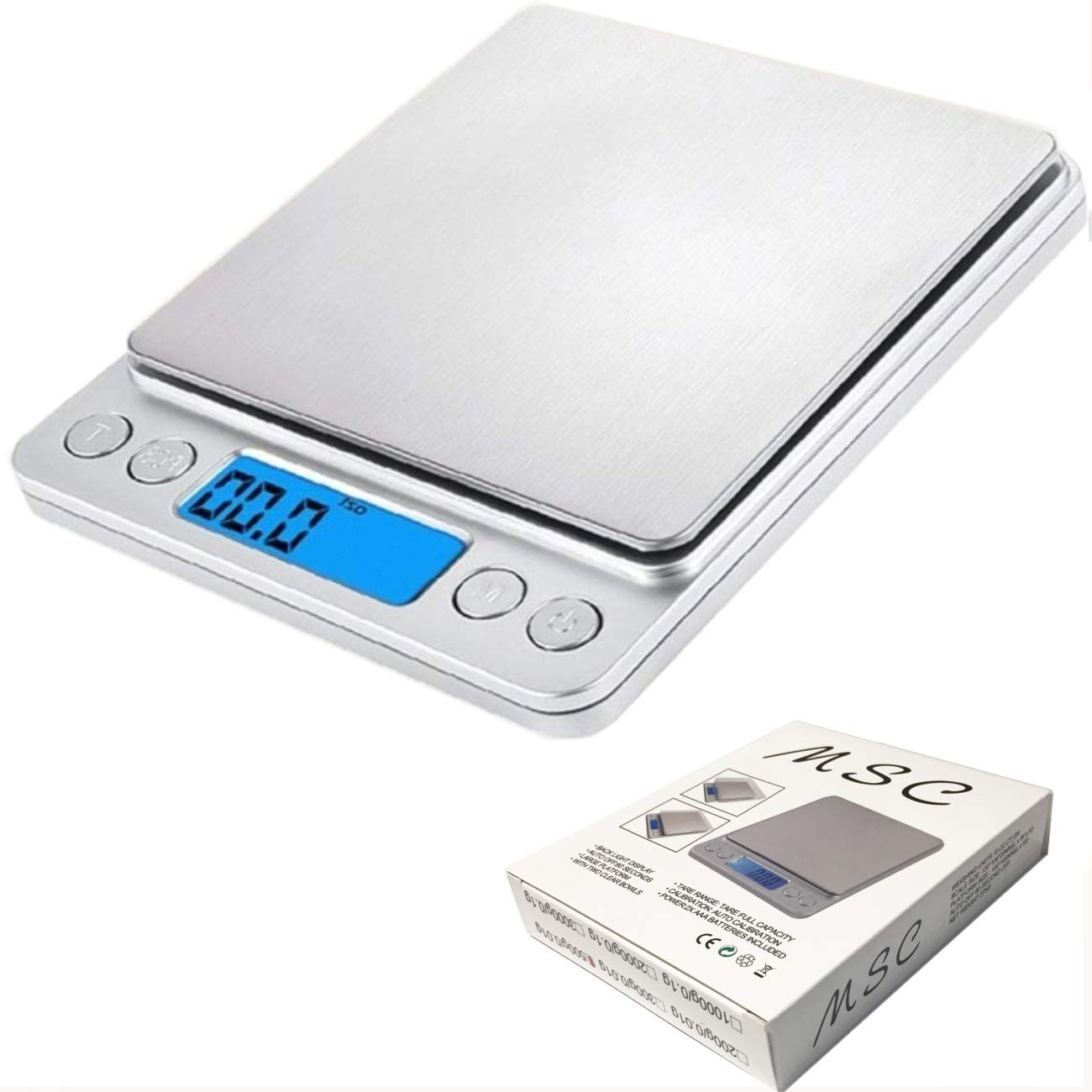 MSC Digital Kitchen Scales, (500g/ 0.01g) High-precision Pocket Food Kitchen Scales, Jewellery Scales, Tare and PCS Feature