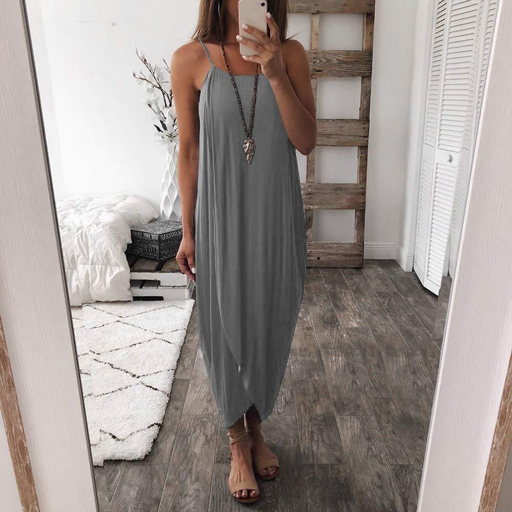 Womens Summer Dress Loose Halter Strap Irregular Split Solid Color Casual Party Beach Dress Simple Long Dress