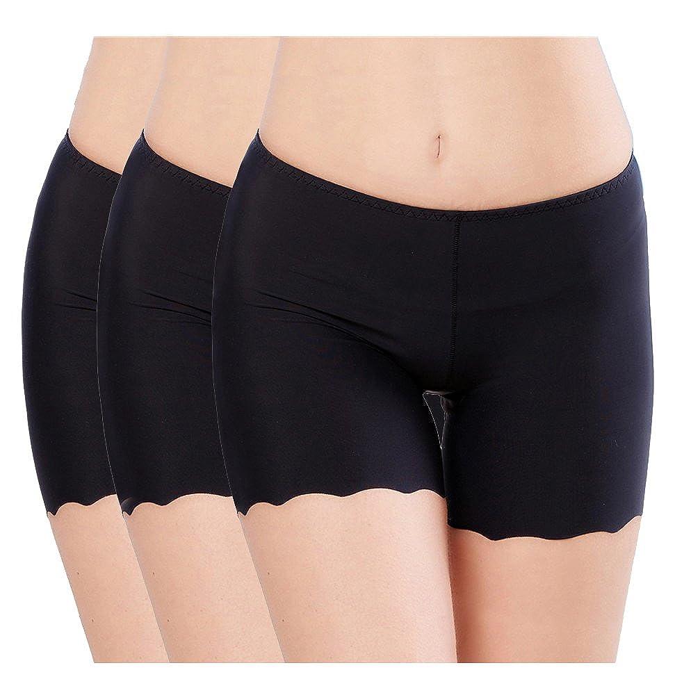 Imax-city 2/3 Pack Women's Ice Silk Safety Shorts Invisible Seamless Boxer Briefs Underwear Boyshort