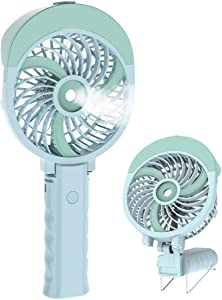 HandFan Handheld Misting Fan USB/Battery Operated Mist Fan Rechargeable Portable Cooling Fan Personal Spray Fan Mister with 55ml Water Tank/Humidifier/3 Speeds