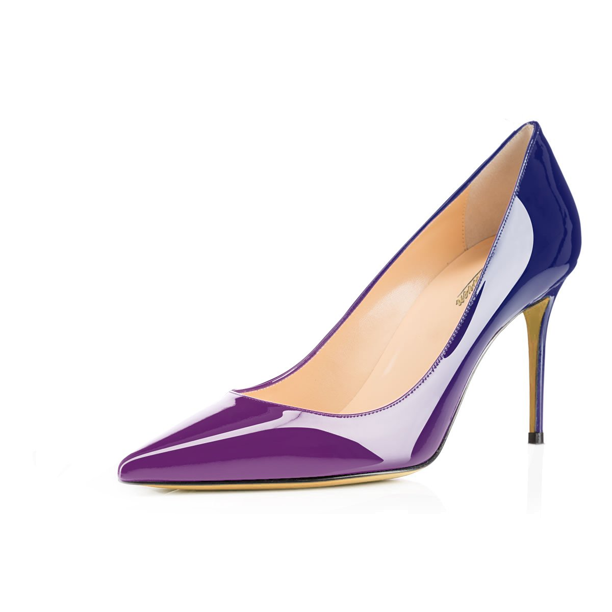 Modemoven Women's Purple Blue Pointed Toe Pumps Slip-on Office Business High Heels Sexy Stiletto Shoes 8.5 M US