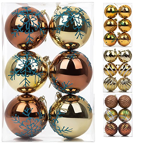 Adding Branches To Christmas Tree - Christmas Ball Ornaments, 6ct Gold Decorative Hanging Shatterproof Plastic Ornaments Delicate Snowflake Painting Ball for Xmas Tree, 100mm/3.98