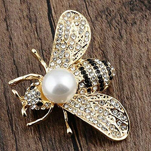 Bee Pins Brooch For Women Accessories Gifts For Scarf Pin Vintage Jewelry Popular Fashion Creation Beauty Party Girls Woman | Color - Gold Bee with White Pearl from Brosco