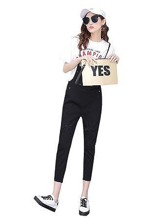 215a39116fa8 COCO clothing - Jeans - Salopette - Femme Noir Noir  Amazon.fr ...