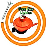 Handu Aluminium High Pressure Gas Cylinder Regulator Home Geyser with Steel Wire Pipe (Red)