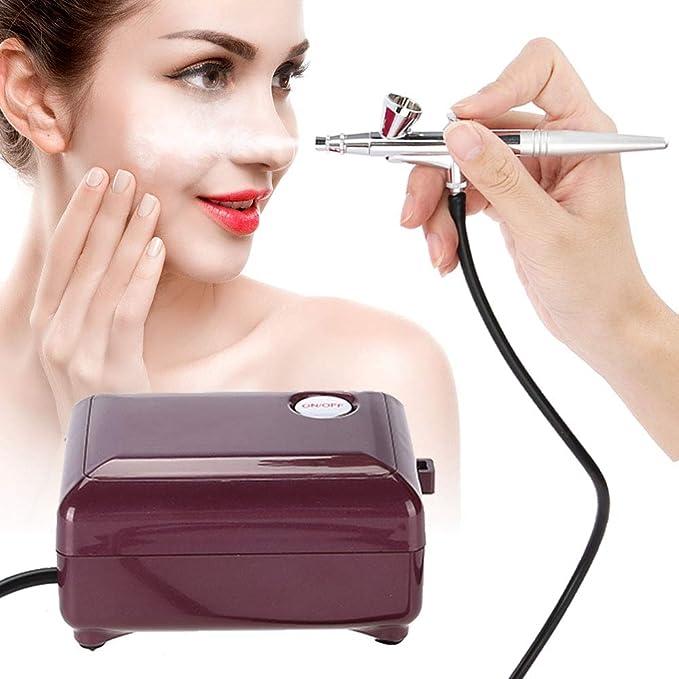Maquina Facial Hidratante Agua Oxígeno, Con 136 aerógrafo + limpieza de tres piezas Conjunto de Aerógrafo Juego para maquillaje,reposteria,tartas,uñas ...