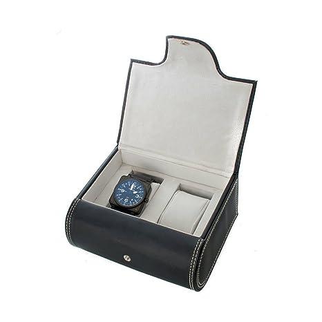 Amazon.com: Dos reloj caja polipiel con almohadillas para ...