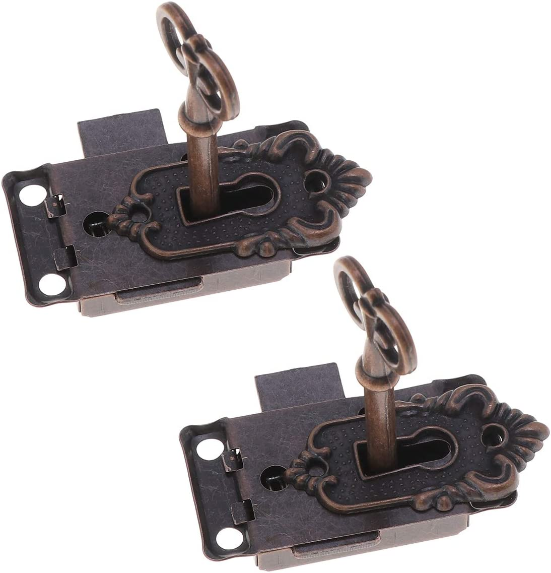 Yardwe 2pcs cerradura de cerrojo con llave Vintage Twist Knob cerradura de cerrojo de cerradura de la cerradura de la cerradura de la puerta para pequeños gabinetes de puertas (Bronce rojo)