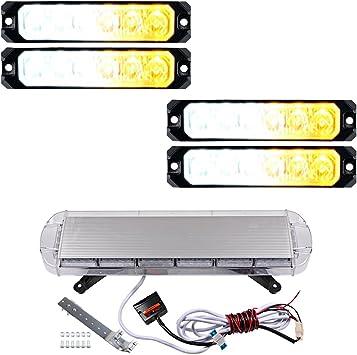 Autek 4x 22 LED Car White//Amber Flash Emergency Strobe Light