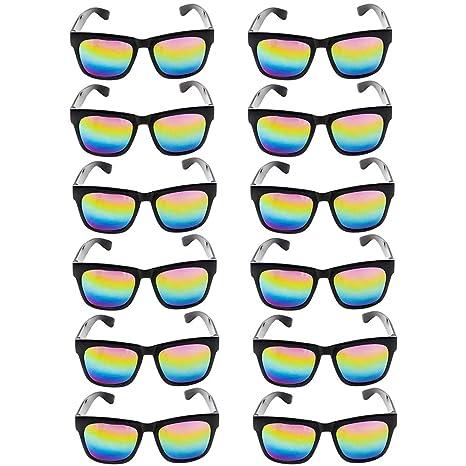 c26f704059a Black Sunglasses with Rainbow Lenses - 12 Pack Wayfarer Style Unisex UV  Protected Eyewear - Gift