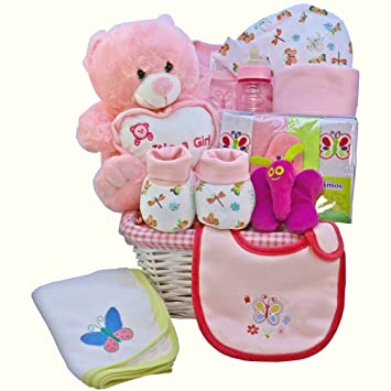 Image Unavailable  sc 1 st  Amazon.com & My Little Flutterby Pink Baby Girl Gift Basket with Teddy Bear ...
