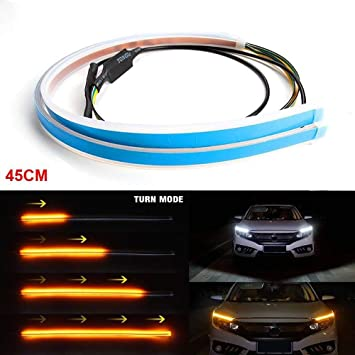 60cm LED Headlight Slim Strip Light Daytime Running Sequential Red Turn Signal