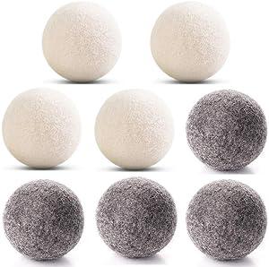 Wool Dryer Balls 4 Gray and 4 White Wool Felt Ball, 100% Natural Fabric Softener Laundry Dryer Ball Ecofriendly & Organic & Reusable (2.75inch)