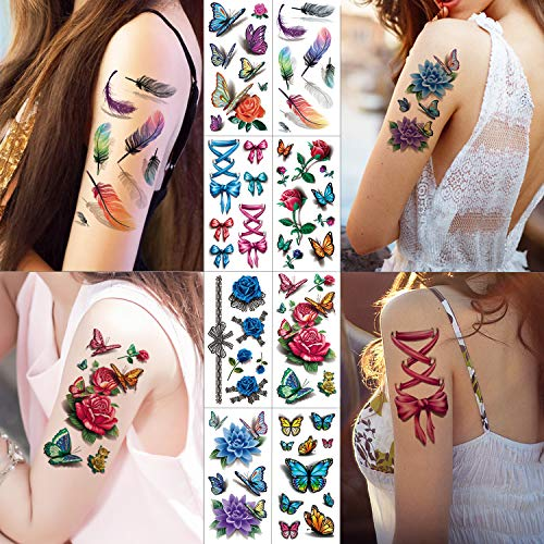 Sexy 3D Temporary Tattoo For Women Men Girls Adults Teens Models Guys - 8 Sheets Colourful Fake Tattoos Butterflies Flowers Bowknot Necklace Feather Body Sticker Tattoos -