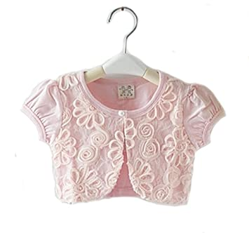 c1d1c14bab397 WIN ガールズ女の子 ボレロ カーディガン 半袖 子供 女の子 用 ホワイト ピンク 薄手 柔らか カーデ 女の子 フォーマル