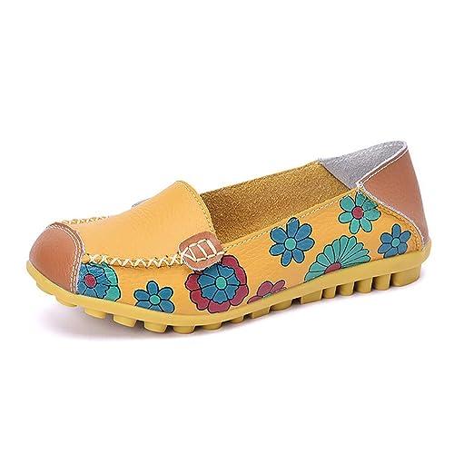 Mocasines Planos De Las Mujeres Ballet Estampado De Flores De Coser Cuero De Vaca Zapatos De ConduccióN Ocasionales: Amazon.es: Zapatos y complementos