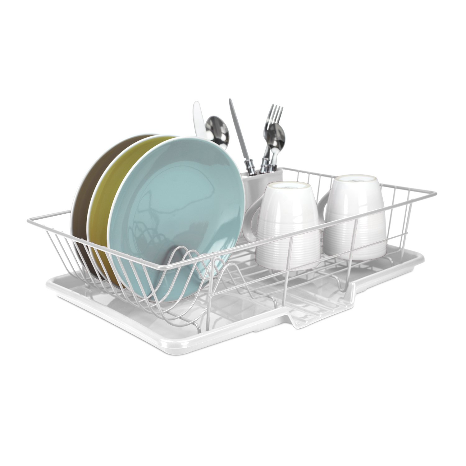 Home Basics 3-Piece Dish Drainer Set, White