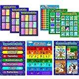 learning supplies - Bememo 9 Pieces Educational Preschool Posters Learning Poster Kit for Toddlers, Alphabet, Number 1-100, Shapes and Colors, Seasons and Months, Planet and Weather, Days of the Week, Addition Subtractio